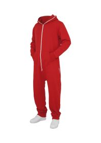 Urban Classics TB277 Sweat Jumpsuit Red/White