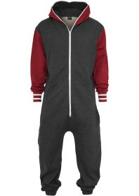Urban Classics TB629 College Sweat Jumpsuit Charcoal/Ruby
